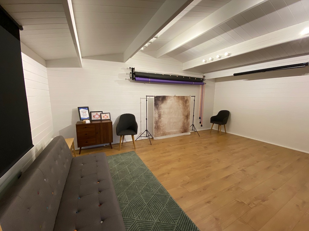 inside trebor photography studio showing large working studio area in Braintree, Essex