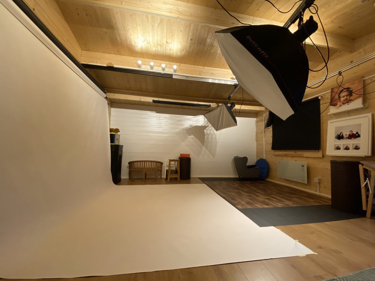 inside trebor photography studio showing large working studio area